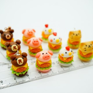 Animal Cheese Hamburger Necklace Pendant Pocket Food Play Chicken Pink Pig Brown Panda Burger Necklace