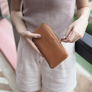 Classic wallet (caramel brown) : Long zip wallet, cow leather