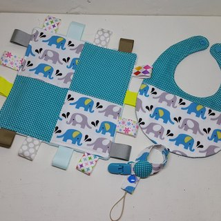 Elephant in water births ritual to appease the towel + bibs + pacifier clip chain