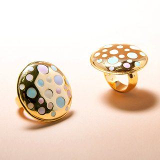 Pastel Polka Dot On Gold Round Ring, Polka Dot Ring, Round Ring, Large Round Ring, Circle Ring, Enamel Polka Dot Ring