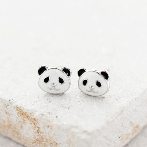 Panda Earrings in 925 Sterling Silver with White Gold plating
