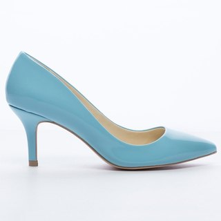 Saint Landry] [candy patent leather kitten heels - Shell Blue