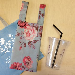 Rose Tea (gray-blue)。Handmade reusable bag for drinks and anything