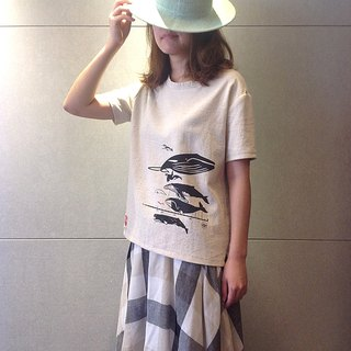 Design No.WH105 - 【Whale Diagram】Handmade T-Shirts