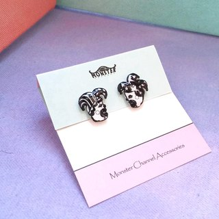 Classic series - Clown Couple - Black & White - earrings / ear clip