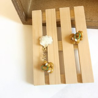 Japanese resin mini clay hand earrings food warm package