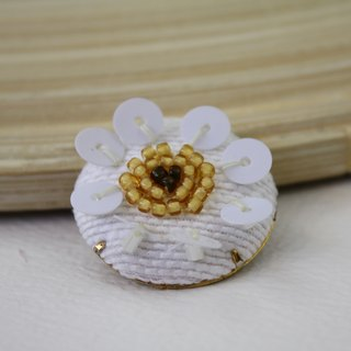 handmade cream white floral brooch,  round flower pin