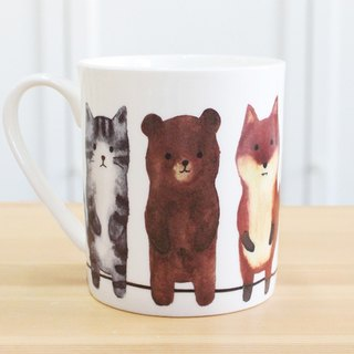 Bone china mug - to stand / cat / cub / fox / fun / can be microwave / through SGS / do not fade / cute / gift