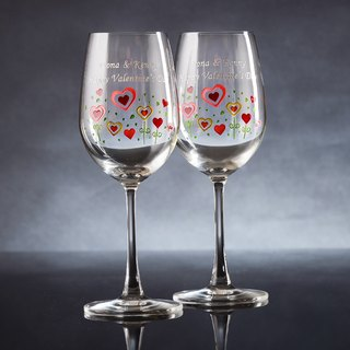 My Crystal Red Wine Glasses - Hearts Flower ( including engraved names & date )