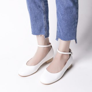 Perfect Digging! White - Elegant Round Collar Flats All Leather MIT