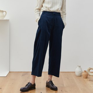 Chicken legs deep lake blue 2 color corduroy loose pleated nine points pants thin strips wide leg old pants