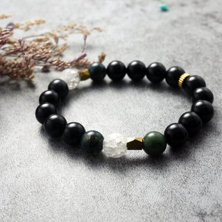 Natural Stone Bracelet - 2N Billy (Brass / Accessories / Gift / Water Grass Agate / White Crystal / Black Onyx)