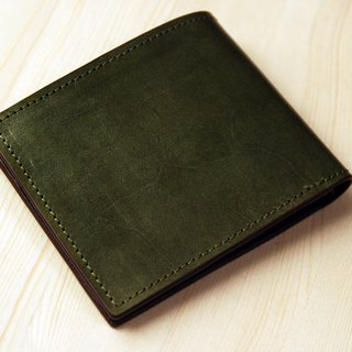 [Father's Day] [hand dyed series] [planted leather short clip] dark green leather short clip