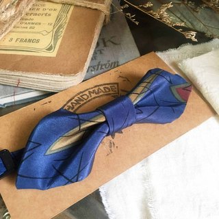 Papa's Bow Tie-Antique Cloth Belt Recipe Hand Bowknot - Blue Blue Blue - Wide Edition