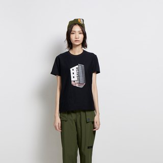 Home - Chalet Pouch Embroidery Tee - Black