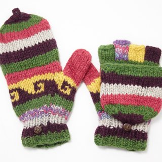 Valentine's Day gift limit a knitted pure wool warm gloves / 2ways Gloves / Toe gloves / bristles gloves / knitted gloves - mixed colors blending forest department national totem
