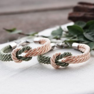 Sage green &Golden Ivory knot rope bracelet - friendship bracelet - wedding gift