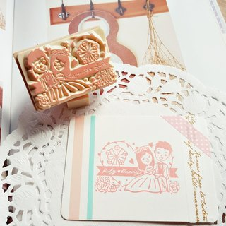 Red Warm Handmade Rubber Stamp | Heart Shaped Ferris Wheel Wedding Stamp 5X7cm