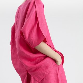 【In Stock】 Linen loose shirt (Rose red)