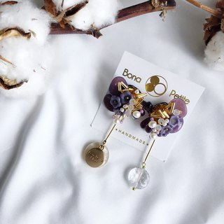Purple Japanese bead freshwater pearl earrings