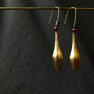 Brass silk long leaf hanging ring