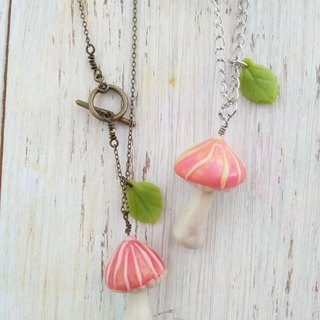 Pink, Mushroom Necklace, Forest Jewelry, Gift for her 3