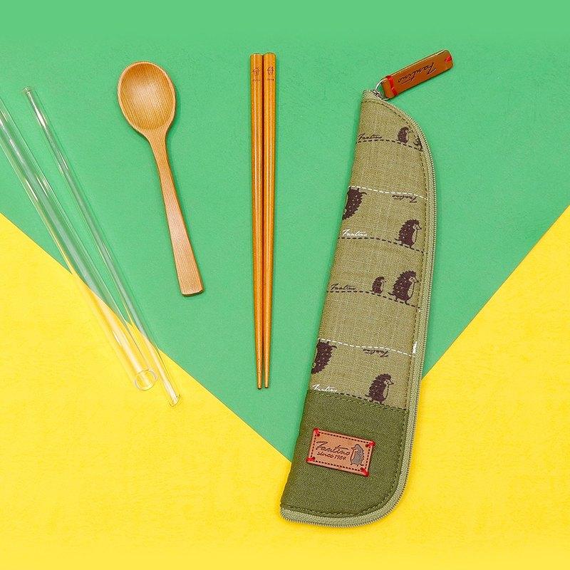 獨創布花 棉麻餐具袋::抹茶綠:: (漫步一線間)環保餐具/減塑/防疫/交換禮物