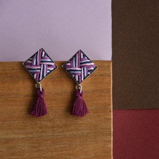甄 girl layered embroidery rhomb purple fringe earrings