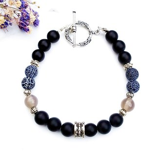 <Courage Light Wheel-Black inflammation>Black Weathered Agate x Scrub Black Agate x Gray Agate Bracelet Customized Gift