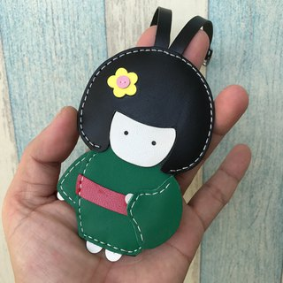 Leatherprince Handmade Leather Taiwan MIT Green Cute Japanese Doll Hand-sewn Leather Charm Big size