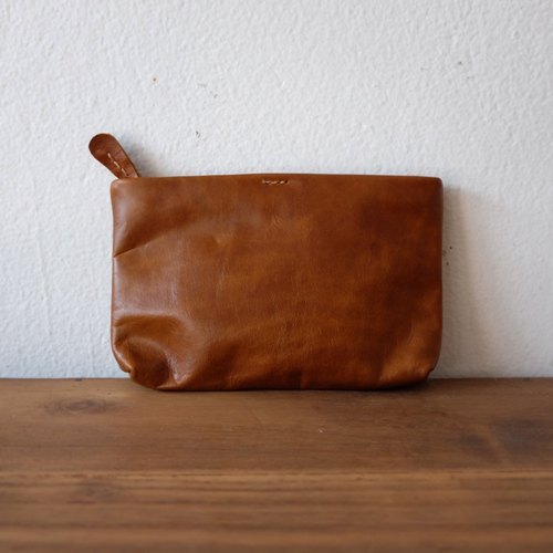 Small Leather Clutch Bag / Brown Purse