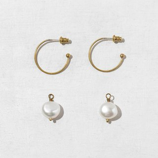 Pearl Brass Earrings - 925 Sterling Silver Needles