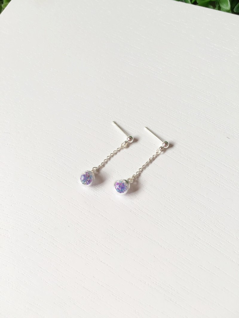 *Haku‧Neko*Mini Gel mixed purple glass beads long ball chain earrings