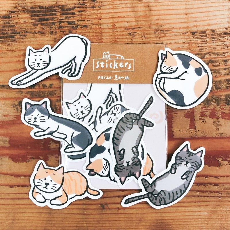 手繪插畫霧面防水貼紙 貓貓-搔首弄姿
