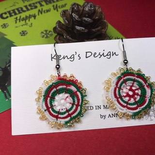 tatted lace Christmas earrings