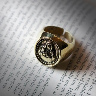 Mary Ring,St.Mary Ring,Mother of God Ring,Golden Brass Ring,Charm Ring,Layering Ring,Textured Ring,Statement Ring