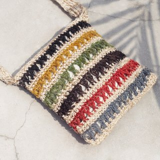 Christmas exchange gift handmade natural linen bag / national wind woven bag / hook woven camera bag / phone bag / clip folder - hand-woven ice cream color striped woven bag