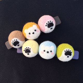 Wool felt colorful three polar bears hairpin spring clip