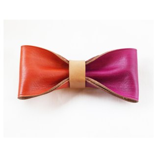 Clip on vegetable tanned leather bow tie - Orange / Fuchsia color