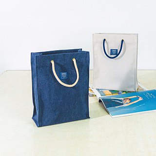 Canvas bag like paper bag _ washed dark blue (S)