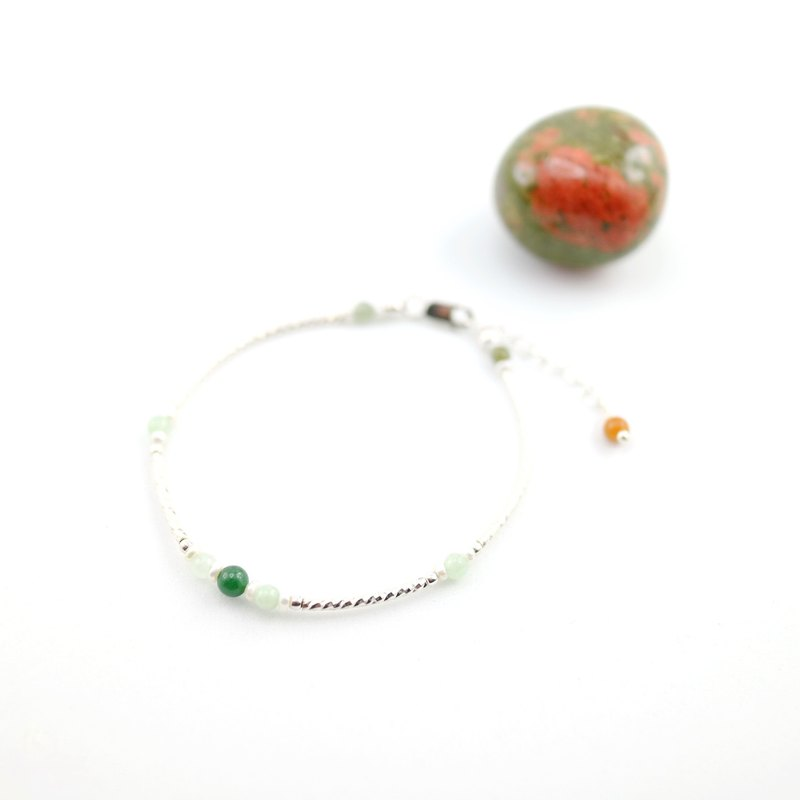 【ColorDay】Dazzling~緬甸玉_天然珍珠純銀手鍊〈Natural Jadeite _ Pearl Silver Bracelet〉