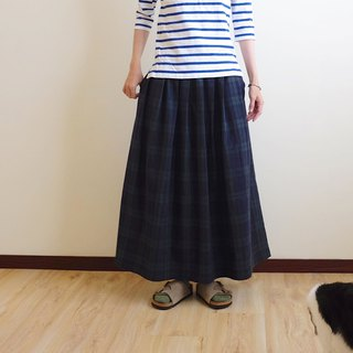 Daily hand-made suit natural forest blue-green plaid pleated long skirt linen cotton