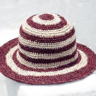 Valentine's Day Birthday gift limited a hand-woven cotton hood / weaving hat / fisherman hat / sun hat / straw hat / straw hat - tropical passion chocolate simple wind stripes