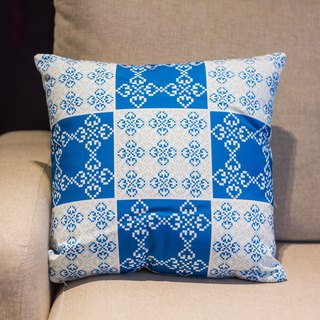 Portuguese tile square pillow Cushion