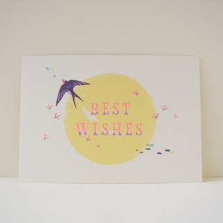 Postcard printed version: Swallow and small red berries - Universal Cards - Birthday Card - Gift Card