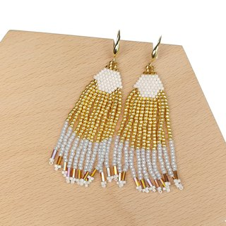 Gold-White Waterfall Beaded Tassel Earrings