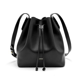 [ADOLE] laurel weave - leather bucket bag - black