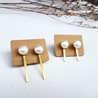 Copper hand made _3cm word shape natural pearl paste _ copper earrings