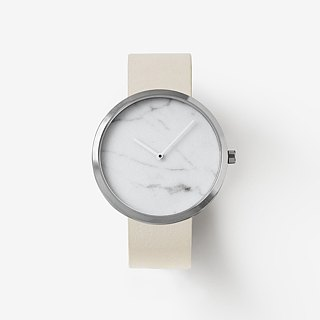 Outline Silver 40mm -  Beige Leather | Genuine Marble | Swiss Movement