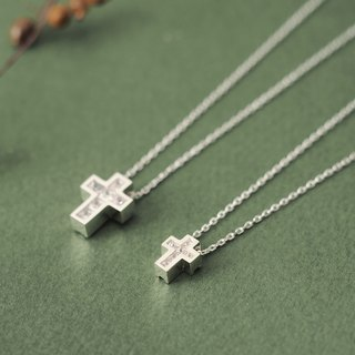 2 set) Cube stone Cross Pair Necklace Silver 925